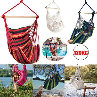 Hanging Hammock Chair Garden Swing Seat Tree Poly Cotton Portable Camping Travel • 16.99£