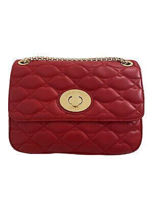 Lulu Guinness Large Eyelet Annabelle Bag In Red Nappa Leather And Gold Hardware • 150£