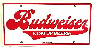 $ CDN46.14 • Buy Vintage Budweiser Beer Advertising License Plate Sign Heavy Metal Nice NOS