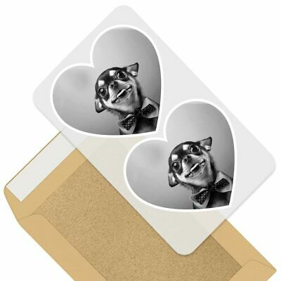 £3.99 • Buy 2 X Heart Stickers 7.5 Cm - BW - Funny Chihuahua Bow Tie Dogs  #39501