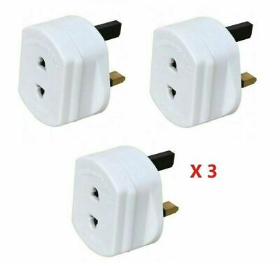 3x Electric Shaver Adaptor Toothbrush Plug Socket Converter 2 To 3 Pin 1A • 5.25£