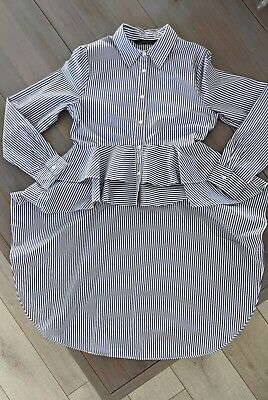 $10 • Buy ZARA Premium Denim Collection Blue/white Stripe High Low Ruffles Blouse US Small