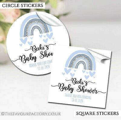 Baby Shower Stickers Labels Personalised GLOSSY Blue Rainbow Hearts • 2.40£
