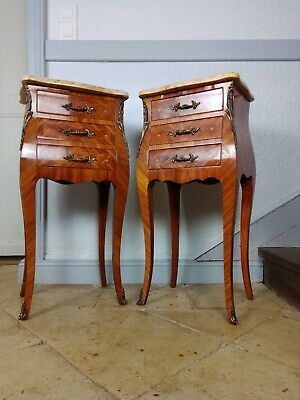 Antique French Pair Of Bombe Bedside Cabinets, Marquetry Rosewood (Armoire Av) • 699£