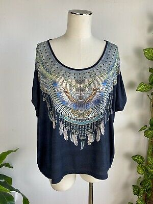 AU95 • Buy Camilla Franks Oversized Boho Beaded Crystal Tee Top. Size 8-14