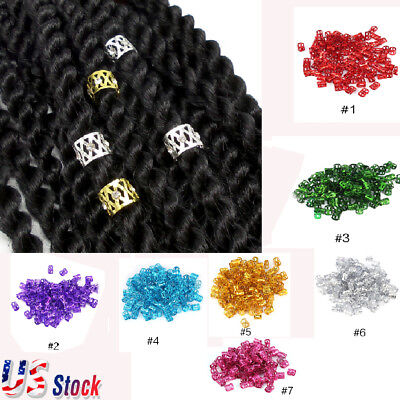 $4.84 • Buy Dreadlock Hair Beads Cuff Hair Styling Braid Rings Clip DIY 8*9mm--US SALE