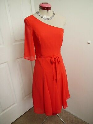 AU45 • Buy GEORGE Coral Red DRESS Size UK 8 BNWT NEW One-Shoulder A-Line Party Races Eve