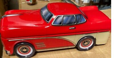Silver Crane Company Money Biscuit Sweet Storage Red 1950s Car Tin Birthday Xmas • 7.60£
