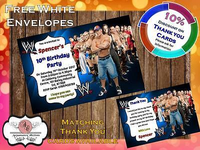 10 X Personalised WWE Wrestling Birthday Party Invites With Envelopes 03 • 4£
