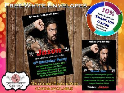 10 X Personalised WWE Wrestling Birthday Party Invites With Envelopes 08 • 4£