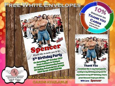 10 X Personalised WWE Wrestling Birthday Party Invites With Envelopes 04 • 4£