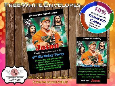 10 X Personalised WWE Wrestling Birthday Party Invites With Envelopes 09 • 4£