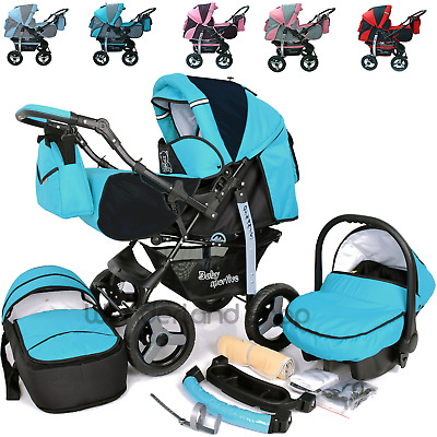 Baby Pram Buggy 3 In 1 Pushchair With Car Seat  Carrycot Travel System Newborns • 169£