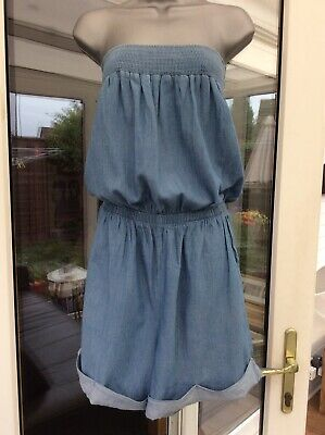 Ladies NEXT Blue Chambray Bandeau Shorts Playsuit - Size 14 - Ex Cond • 4.20£