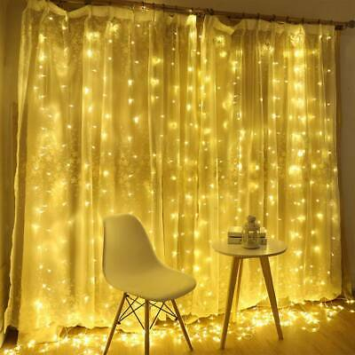 300 LED Curtain Fairy Lights USB String Hanging Wall Lights Wedding Party Remote • 9.59£