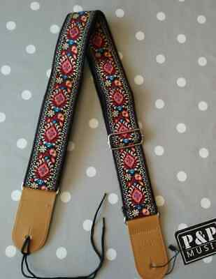 $ CDN13.66 • Buy Guitar Strap Folk Tapestry Embroidered NEW Boho  Red, Blue & Yellow