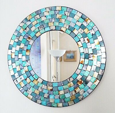 Round Mosaic Wall Mirror, Teal & Gold Brushed Style, Hand Made In Bali, 40cm NEW • 33.99£