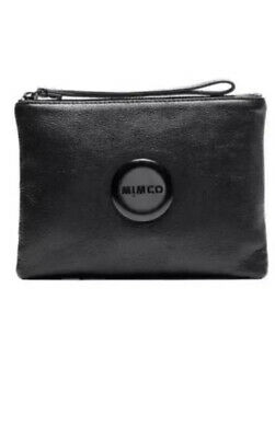 AU45 • Buy MIMCO Black Pouch Medium Leather Bag Clutch Wallet BNWT RRP$99.95 Mat Hardware