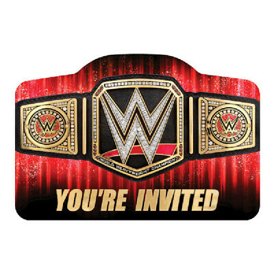 WWE Smash Invitations With Envelops (8ct) Boys Birthday Party Supplies Wrestling • 3.72£