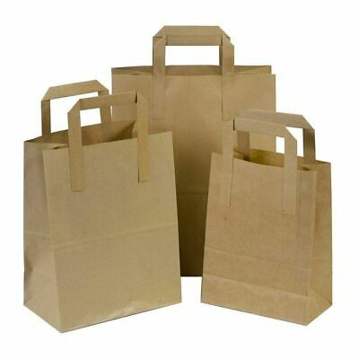 Recycled Brown Kraft Paper Strong Carrier Bags With Handle | Gift/Fashion/Party! • 4.19£