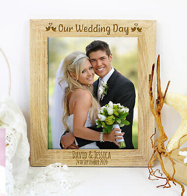 £8.95 • Buy Personalised Our Wedding Day Photo Frame Wedding Anniversary Engagement Gift
