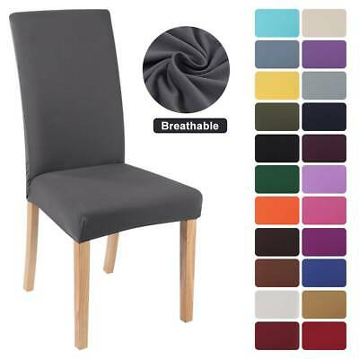 Universal Stretch Solid Color Dining Chair Covers Seat Slipcover Party Decor UK • 2.99£