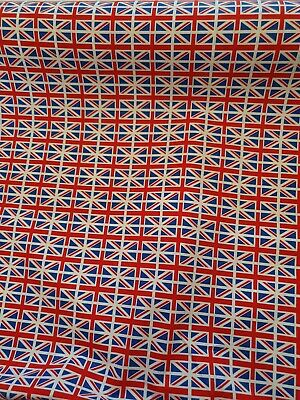 1m100% Cotton Poplin Fabric Rose  Hubble Mini Union Jack Flags United Kingdom UK • 7.99£