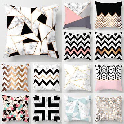 44x 44cm Geometric Cushion Covers Pink Marble Grey Sofa Pillow Case Cover UK • 2.84£