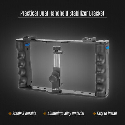 Video Camera Cage Stabilizer Handgrip Film Making Rig+Clip For IPhone DSLR X9C3 • 21.79£