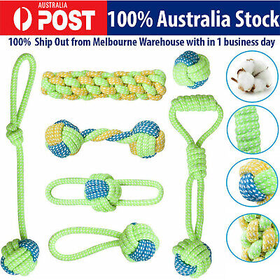 AU18.32 • Buy 7x Dog Rope Chew Toys Kit Tough Strong Knot Ball Pet Puppy Cotton Teething Toy