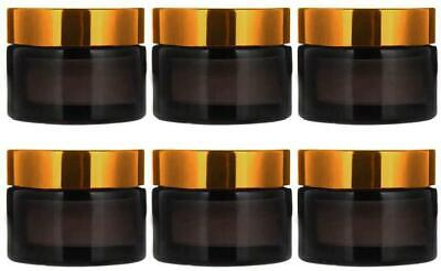 INHEMI 30ml Cosmetic Glass Jars With Gold Lids,Empty Amber Glass Jars For Face C • 13.95£