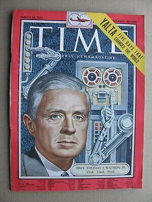 TIME MAGAZINE Mar 28 1955 Thomas Watson IBM Computers Yalta Conference Max Ernst • 15£