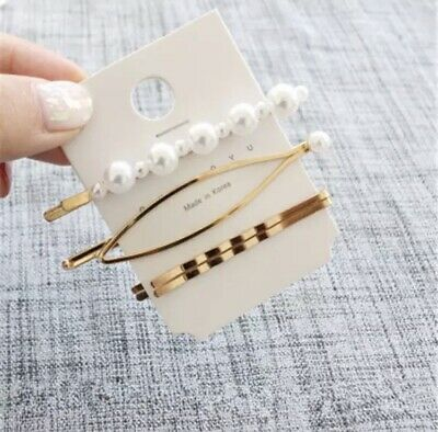 £4 • Buy Hair Clips 4PCs Gold And Pearl Hair Clips