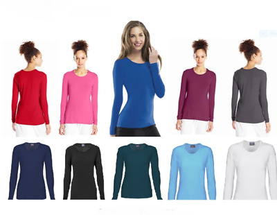 $11.95 • Buy Cherokee Womens Scrubs Workwear Long Sleeve Knit Tee Top 4881 Colors And Sizes