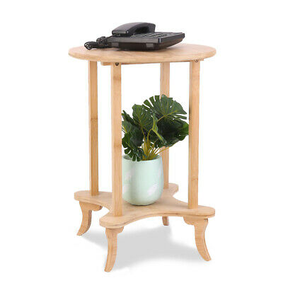 AU46.93 • Buy Round Bamboo Side Table Solid Wood Slim Occasional Coffee Lamp End Console Stand