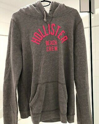 AU30 • Buy Hollister Grey Hoodie With Pink Writing : Size L