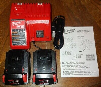 $ CDN160.58 • Buy Milwaukee M18 Lithium-ion 3.0ah Batteries (x2) And M12/M18 Charger NEW GENUINE!!