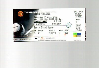 Unused Ticket - Manchester United V Wigan Atletic 14.12.2005 • 2.50£
