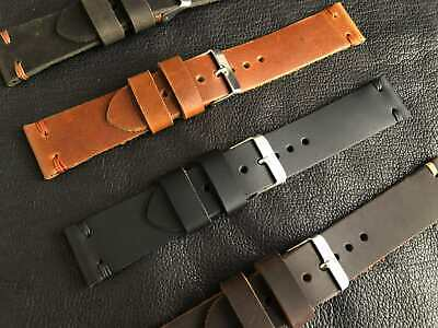 Leather Watch Strap GenuineK Leather Band Leather Black Strap Handmade Brown • 18.35£