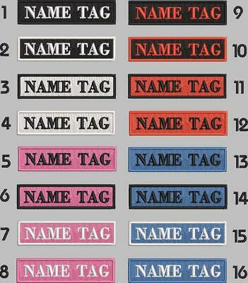 Embroidered Name Identity Patch Tag Personalised Custom Colours Iron Sew On • 3.70£