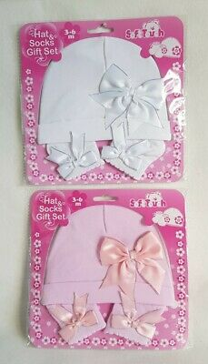Baby Girls Hat And Socks Set Pink/White With Satin Bows Accessory 0-3 / 3-6 Mths • 9.99£
