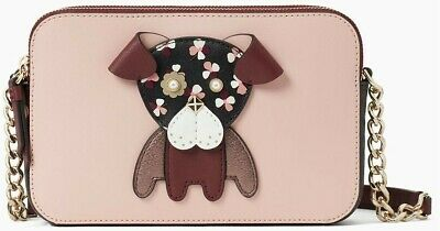 $ CDN79 • Buy NEW With Tags - Kate Spade Floral Pup Cherrywood Double Zip Crossbody Bag Purse
