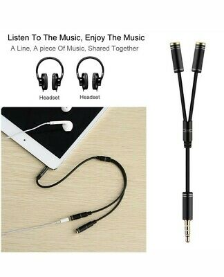 Two Way Splitter Cable 3.5mm Male To 2 Female Port For Headphones And Microphone • 3.10£