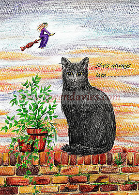 £1.75 • Buy Waiting For My Witch Halloween Samhain Card, Pagan Wiccan Cat UK Artist Birthday