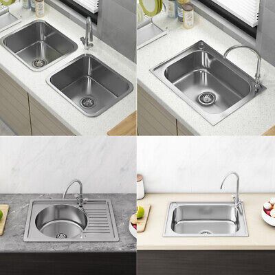 Stainless Steel Kitchen Sink Commercial Catering Single Double Bowl Drainer Kit • 53.99£