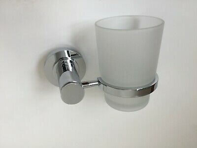 EXENE - Bathroom Chrome Toothbrush Tumbler Holder With Glass Cup Wall Mounted • 14.99£