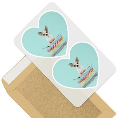 £3.99 • Buy 2 X Heart Stickers 10 Cm - Chihuahua Puppy Dog Teal Background  #44583