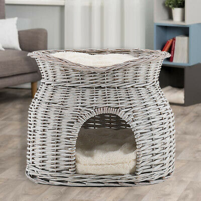 Grey Wicker Two Tier Cat House Basket Pet Sleeping Station Soft Cushions Pad Mat • 35.95£