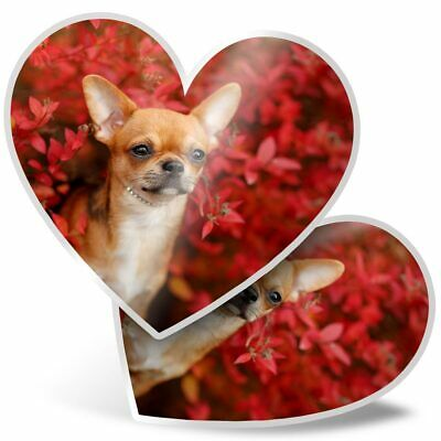 £3.99 • Buy 2 X Heart Stickers 15 Cm - Brown Chihuahua Puppy Dog Flowers  #44466