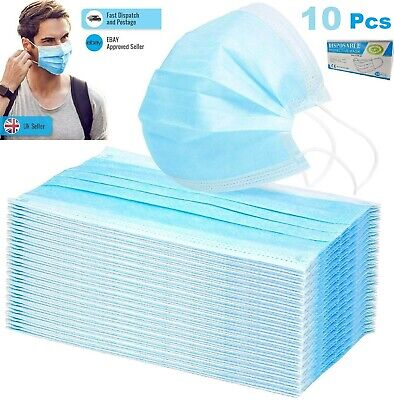 £3.69 • Buy Face Mask X 10  Protective Covering Mouth Masks Fluid Resistant UK